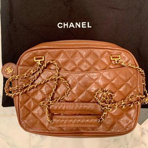 Authentic Vintage Chanel Camel Quilted Camera Bag